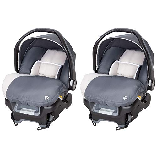 Baby Trend Ally Adjustable Comfortable Carry 35 Pound Infant Baby Car Seat and Base Set, Gray Magnolia (2 Pack)