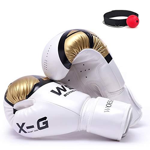 Unbekannt Herren Boxhandschuhe Karate Muay Thai-Boxer-freie Kämpfen Sanda Trainings Erwachsene Kinder Outfit Boxhandschuhe (Color : Gold, US Size : 4 OZ)
