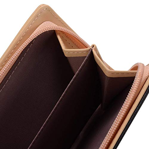PARADOX (LABEL) Women's Leather Leaf Bi-fold Card Holder RFID Blocking Wallet (Black)