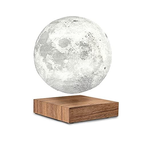 Ginkgo Levitating Smart Moon Lámpara con base de madera de nogal nuevo diseño fo 2021