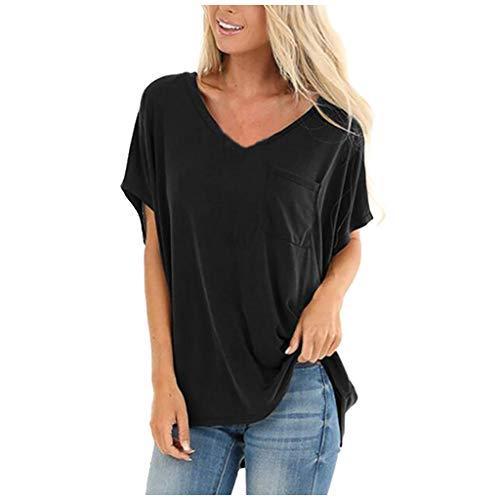 MOTOCO Damen Relaxed-Fit Kurzarm Tunika Tops mit V-Ausschnitt Mode Raglan T-Shirts mit Tasche(L.Schwarz-1)