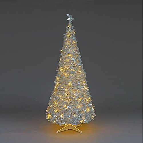 Snowtime 6ft Prelit Holly Pop Up Warm White LED Christmas Tree