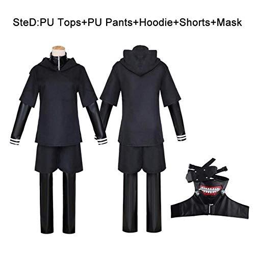 Anime Tokyo Ghoul Ken Kaneki Cosplay disfraz conjunto completo cuero negro lucha uniforme mujeres hombres disfraz de Halloween con máscara peluca