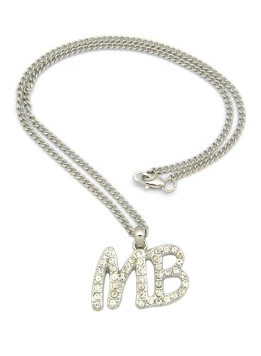 Crescendo SJ INC New Iced Out 'MB' Mindless Behavior Pendant &2mm/18 Link Chain Necklace XMP7R