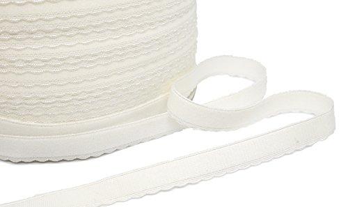 """Porcelynne White Scalloped Edge Brushed Back Strap or Waistband Elastic - 1/2"""" - 5 Yards"""