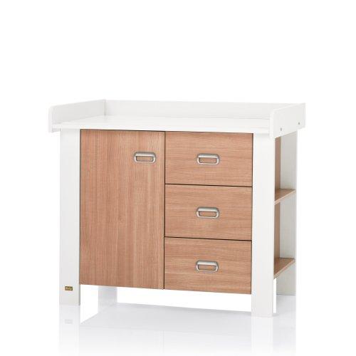 Herlag H1971-0001 Wickelkommode Modern, 110 x 89 x 60 cm, nussbaum/weiß