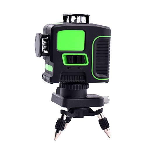 12 líneas 3D láser verde nivel 360 horizontal y vertical cruz autonivelante...
