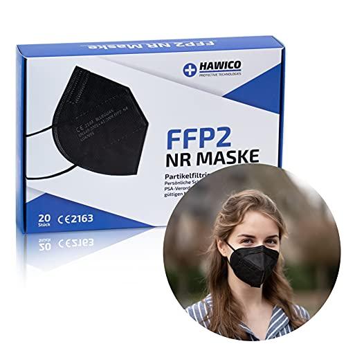 HAWICO MED - 20x Schwarze FFP2 Masken, CE-Zertifiziert, Premium-Qualität, Apothekenkonform