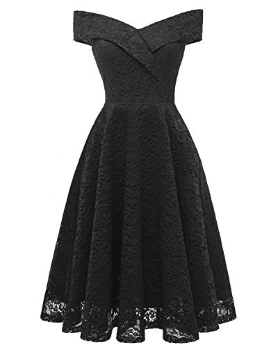 chouyatou Women's Vintage Floral Lace Off The Shoulder Midi Prom Party Dress (Small, Black)