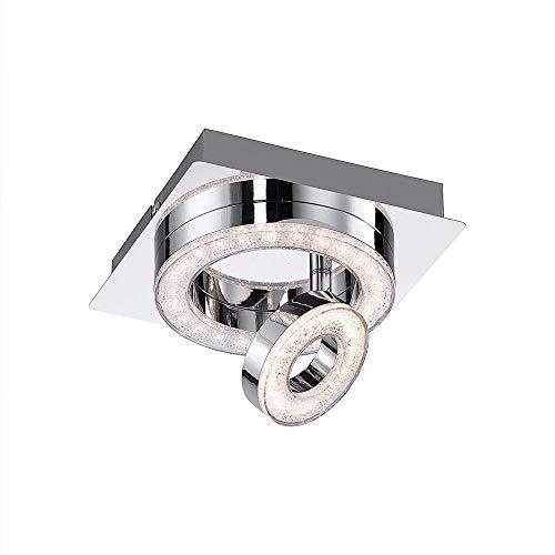 LED-Deckenleuchte, 17x17, 2-flammig, dreh- und schwenkbare LED Spots   Deckenlampe mit warmweißer Lichtfarbe, 3000 Kelvin   quadratische Deckenlampe, klein in Chromfarben für Flur, Küche und Kinderzim