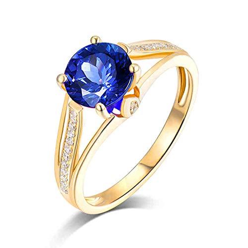 Bishilin Rotgold Ring 750 Damen Diamant, 4-Steg-Krappenfassung mit 1.3ct Tansanit Solitär Trauringe Nickelfrei Verlobungsring Rosegold Diamant Gr.57 (18.1)