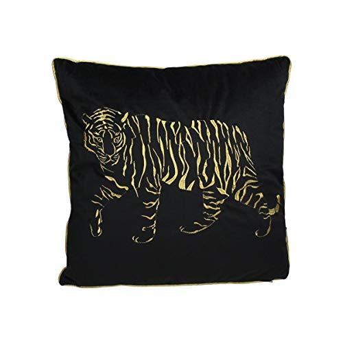 Engelnburg hoogwaardig sierkussen sofakussen kussen tijger fluweel zwart 45x45cm