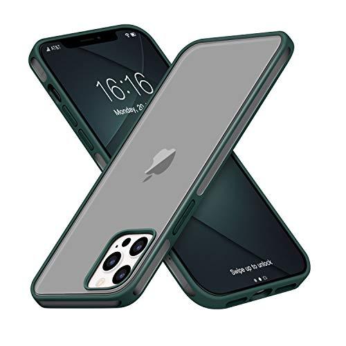 GOODVISH Cover Opaca Traslucida Compatibile con iPhone 12 PRO Max, Rigida Antiurto PC Custodia con Bottone in Silicone Morbido, Protettiva Slim Fit Cover per iPhone 12 PRO Max 6.7',Verde