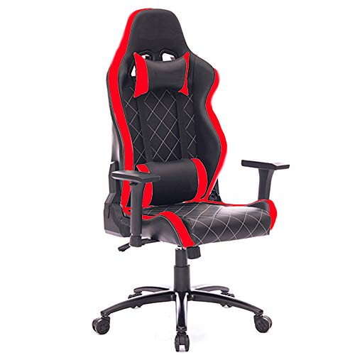 PRO SYSTEM AUDIOTEK Silla Gamer Ergonomica Reclinable Vinil Resitente Colores Gaming Chair Cojin Lumbar Reposa Brazos Ajustables (Roja...