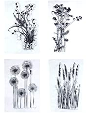 Healifty 4PCS Dandelion Clear Stamps Lavender Flowers Leaves Rubber Decorative Stamps for DIY Scrapbook Photo Album Card Making