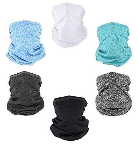 QIANJING Neck Gaiter Balaclava Face Shield Mask For Dust Wind UV Sun Protection (6 PACK)