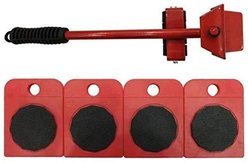 TXOZ-Q 360 Rodillos ° Heavy Duty Mover Muebles, 1 de elevación Rod y 4 de Muebles Rodillos Que se mueven, Ideal for Llama/Armario/Lavadora/Secadora/Sofá (Color : Red)