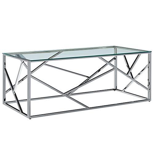 vidaXL Tavolino Moderno Elegante Stile Contemporaneo Compatto Tavolo Basso da Salotto Trasparente in Vetro Temperato e Acciaio Inox 120x60x40 cm
