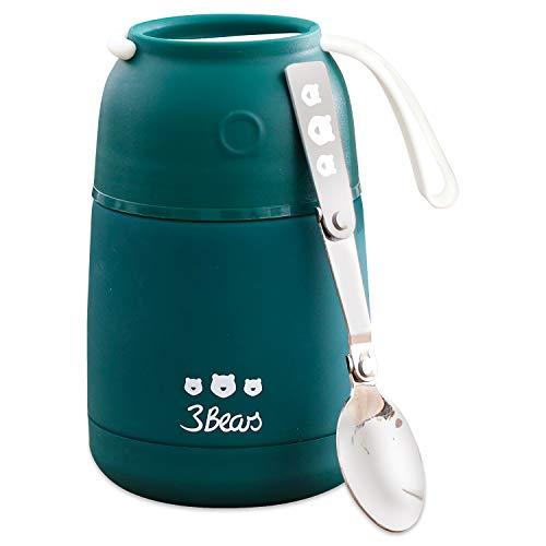 3Bears Thermosbecher für unterwegs I Porridge to-Go Thermobehälter für EIN leckeres & schnelles Frühstück I Praktischer, Kleiner Isolierbecher mit Edelstahl-Löffel I 420ml I 10 x 10 x 16cm