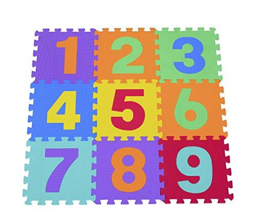 Outletdelocio. Alfombra de Suelo Puzzle gomaespuma EVA. 9 Piezas con numeros. Tamaño de Cada Pieza 31x31cm
