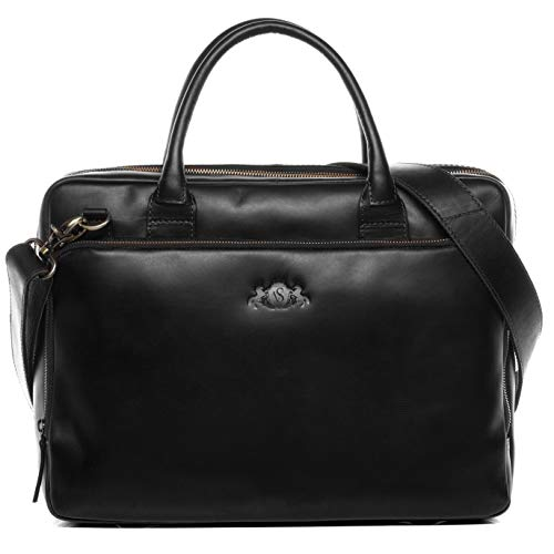 SID & VAIN Laptop Bag Ryan XL Business Briefcase Real Leather 15.4 inch Laptop Portable Computer Satchel Leather Bag Women and Men Black