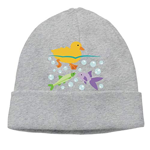 XCNGG Gorro de Punto Gorro de Lana Unisex Duckling and Fishes Knitted Hat, Cotton Skiing Cap