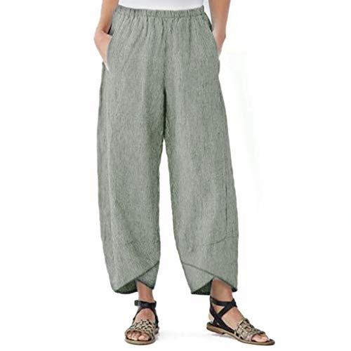Hosen Damen High Waist Stretch Hosen Grosse Grössen Lose mit Tasche Mode Lässige Elastische Taille Leinenhose Hose Neun Hosen S-XL