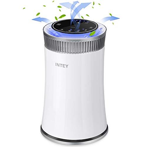 Purificatore Aria INTEY,Filtro HEPA - Carbone Attivo,con Filtro a Carbone Attivo a 3 Strati per Rimuovere L'odore degli Animali e le Sigarette.