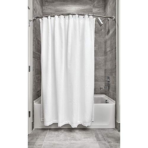 Price comparison product image iDesign,  Waffle Weave Wide Bath,  Hook Shower Curtain Made of Polyester with Reinforced Eyelets,  White,  183 cm x 183 cm