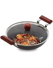 Hawkins Futura Hard Anodised Aluminium Deep Fry Pan(Fish-Fry Kadhai ), 2.5 litres, Black (AFFK25G)
