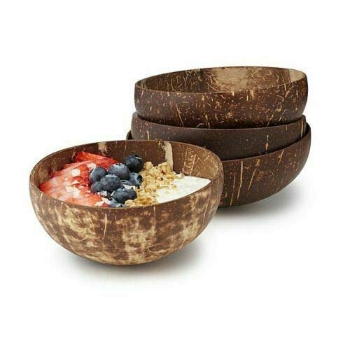 Kokosnuss-Schale, natürlich, handgefertigt, vegan, umweltfreundlich, leicht und langlebig, Holz-Obstschale für Suppe, Obst, Salat, Nudeln, Reis, für Zuhause, Frühstück, Servierdekoration