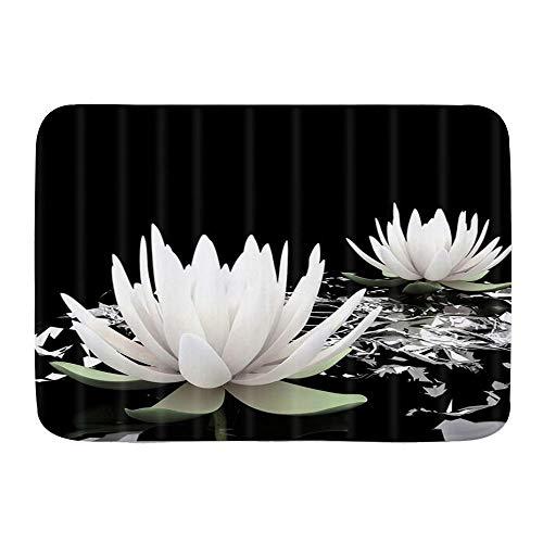 QIUTIANXIU Alfombra De Baño Cocina Mascota Alfombrilla,Lotus SPA Magic Lotus White Lily Flor de Agua sobre Fondo Negro,De Baño Antideslizante,Microfibra Suave Cómoda Y Absorbente