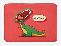 6. Ambesonne Roaring Open Mouth Dinosaur Bath Mat