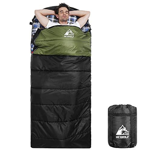 HEWOLF Flanell Schlafsack XL Großer Breiter Deckenschlafsack Erwachsene 3-4 Jahreszeiten Rechteckiger Schlafsack Leichter Campingschlafsack mit Kompressionssack Armeegrün 1.6KG 10℃ bis 15℃
