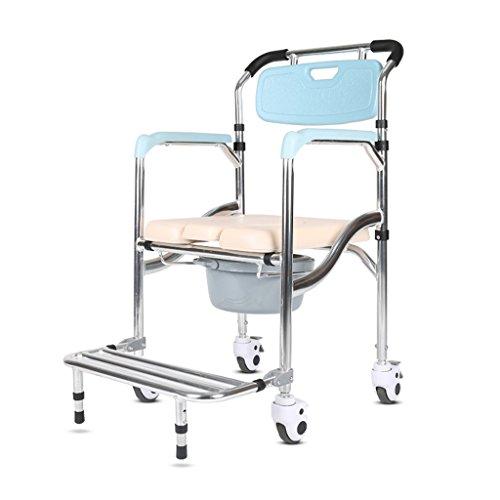 GLJJQMY - Silla de ruedas plegable para ducha, asiento de inodoro, asiento y asiento trasero de baño, silla de ruedas con freno móvil de inodoros y sillas de baño