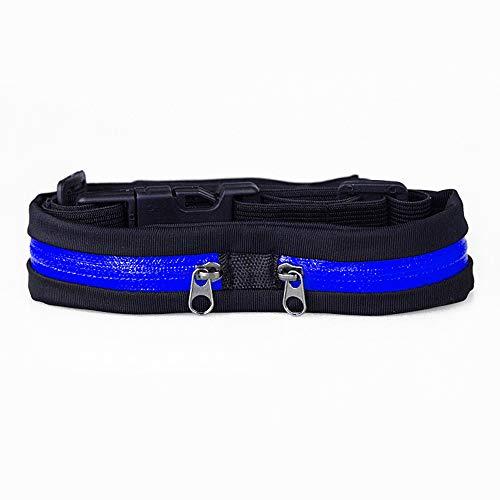 Qyeeypoc Fitness Running Outdoor Waist Bag, Sac de téléphone Portable Travel Portable Invisible Waist Bag Blue