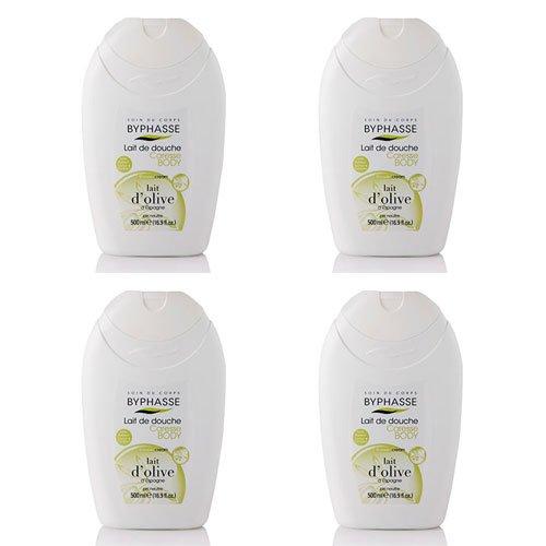 Byphasse LOT DE 4 - Caresse lait de douche lait d'olive - 500 ml - Tous types de peaux