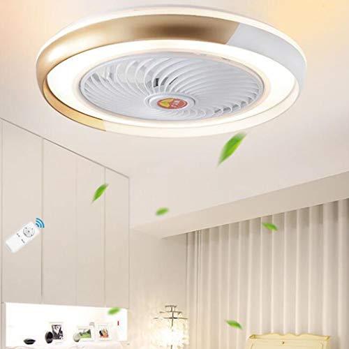 Ventilador techo LED con lámpara moderno Luz techo Luminaria regulable para sala estar control remoto Velocidad viento ajustable con iluminación Lámpara de techo para dormitorio Luz colgante,Oro