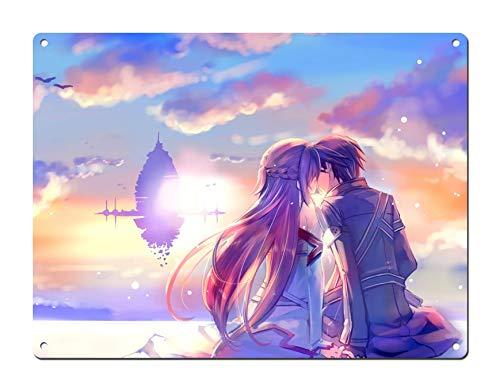 Dreamawsl Anime Tin Sign Wall - Sword Art Online Poster SAO Poster Kirito and Asuna Kiss Poster - Japan Anime Poster Anime TV Show Poster 16 in x 12 in (40 x 30cm)