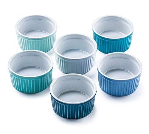 Bellemain Porcelain Ramekins, set of 6 (6 oz. multi-color blue)