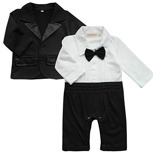 IEFIEL Traje para Bebé Niño Camisa Pelele + Chaquete Ropa Algodón de Manga Larga Traje de Boda Recien Nacido Bautizo Fiesta Blanco+Negro A 12-18 Meses