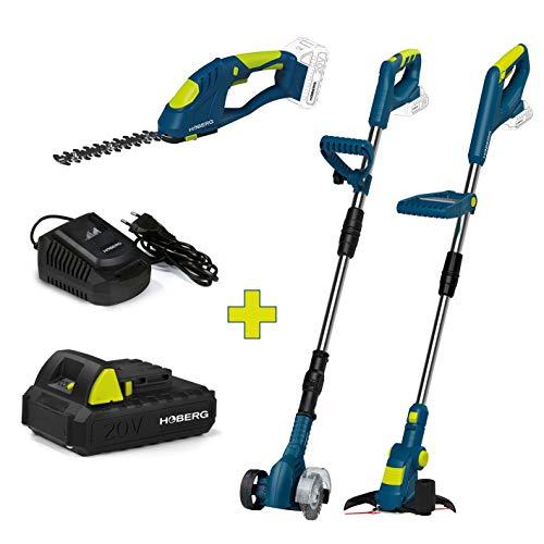 Hoberg Zestaw startowy z akumulatorowej podkaszarki, nożyce do trawy i krzewów i środek do czyszczenia fug 20 V z akumulatorem i stacją ładującą, jeden akumulator pasujący do wszystkich urządzeń