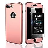 CASYLT [kompatibel für iPhone 7 Plus & iPhone 8 Plus] 360 Grad Fullbody Soft-Case Hülle [inkl. 2X Panzerglas] Komplettschutz TPU Handyhülle in Roségold