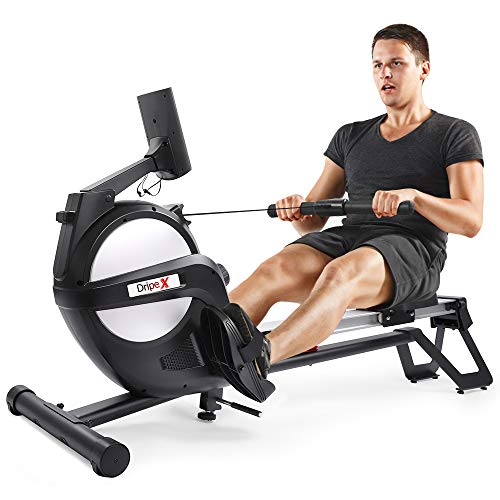 Dripex Rudergerät sportgeräte hometrainer Fitness geräte klappbar rudermaschine Rowing Machine Rudersitz LED-Monitor 3 kg Schwungmasse und 15 stufige Widerstandseinstellung für Fitness zu Hause