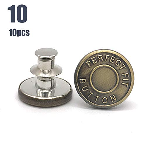 FinWell 10pcs Retractable Jeans Button Adjustable Removable Stapleless Metal Button Zinc Alloy Round Recyclable Gifts for Family Friends