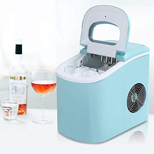 Summer Day 12KG Gewerbe Eismaschine Haushaltsklein Mute Runde Ice Tea Shop KTV-Handbuch Wasser Automatik-EIS-Hersteller 24,2 * 35,8 * 32.8cm, Rot, Blau, Grau A Cool Summer (Farbe : Blue)