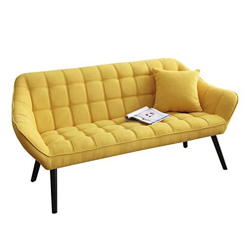 Olden, Sofa de Tres Plazas, Sillon de Descanso, 3 Personas, Acabado en Tejido Mostaza y Patas Negro, Medidas: 175 cm (Largo) x 75 cm (Ancho) x 77 cm (Alto)