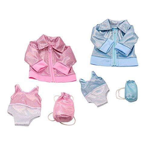 T TOOYFUL 2 sets de bañador abrigo, mochila para muñeca de niña estadounidense de 18 pulgadas