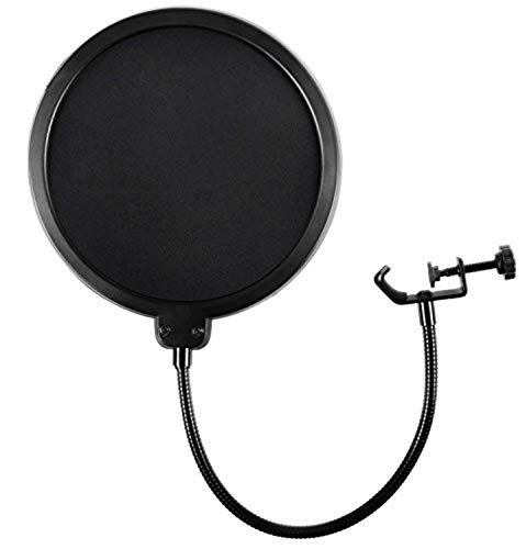 Microphone Pop Filter For Blue Yeti and Any Other Microphone Dual Layered Wind Pop Screen With Flexible 360° Gooseneck Clip Stabilizing Arm By...