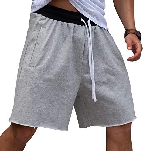 Gafeng Mens Loose Fit Basketball Shorts Workout Gym Running Hippie Elastic Waist Drawstring Jersey Shorts Gray